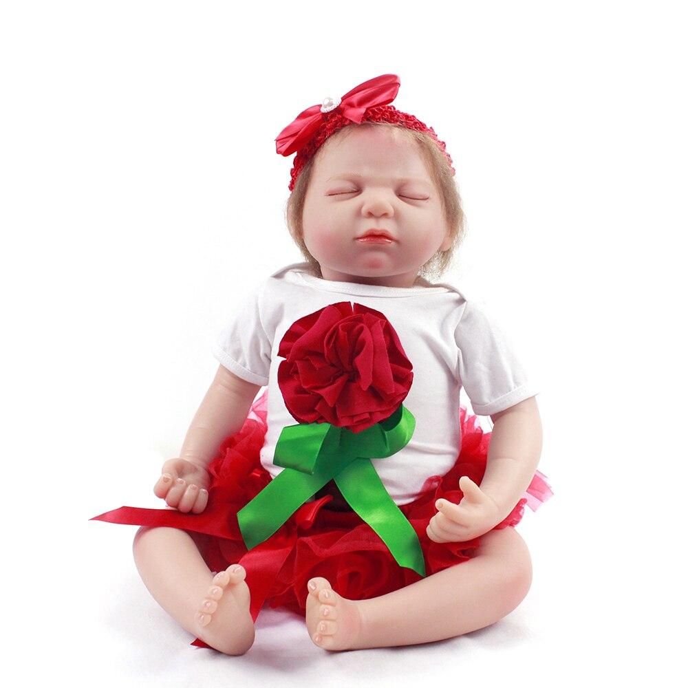 Reborn bébé poupée 22 pouces 55 cm fait à la main en Silicone souple vinyle réaliste nouveau-né poupées dormir BeBe Boneca Reborn enfants cadeau jouet