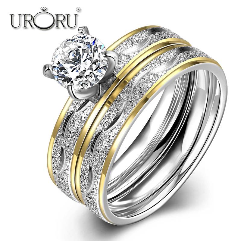 URORU Rings, European and American Combined Titanium Ladies Ring Vintage Titanium Steel Women Ring Vogue Jewelry Acessories
