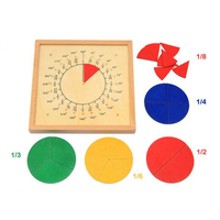 Montessori Board Wooden Circular Mathematics Fraction Division Teaching Aids Child Educational Math Toy Shape Color Recognition