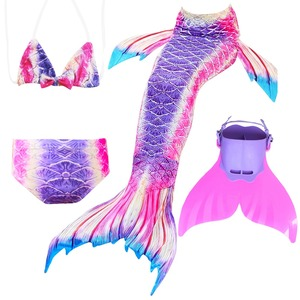 Image 2 - Children Mermaid Tails With Monofin Fin Cosplay Costume Girls Kids Swimsuit Ariel Swimmable for Swimming