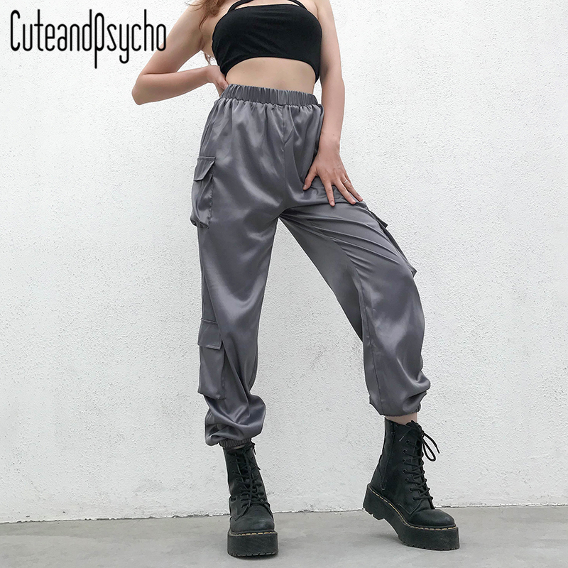 2019 New Loose Women Sweat   Pants   Casual Packets Overalls Trousers High Elastic Waist Cargo   Pant     Capris   Streetwear cuteandpsycho