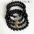 2016 Homens Pulseira de Yoga jóias pedra Natural preto fosco Preto CZ contas homens pulseira elástica cadeia corda charm bracelet para mulheres