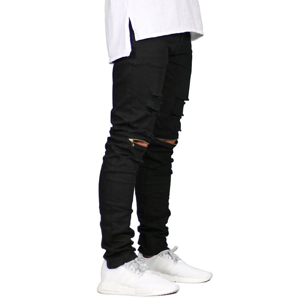 2017 Men Knee Zipper Stretch Pants Fashion Skinny Pants For Men H0592