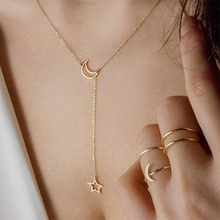Fashion Moon Star Pendant Necklace  Gold Alloy Zinc Chain Necklace Female Party Jewelry Archery Necklace movable skeleton shaped zinc alloy pendant necklace bronze