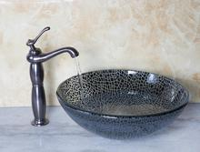 Bathroom Round Art  Washbasin Tempered Glass Vessel Sink With Oil Rubbed Bronze Brass Basin Faucet Set Mixer Tap