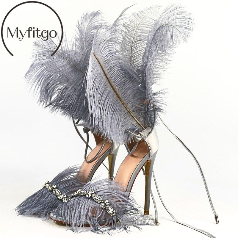 Myfitgo cristal plume sandales pour femmes cheveux décor grande taille mince talon haut chaussures de danse dames fourrure sandales T Show Party chaussures