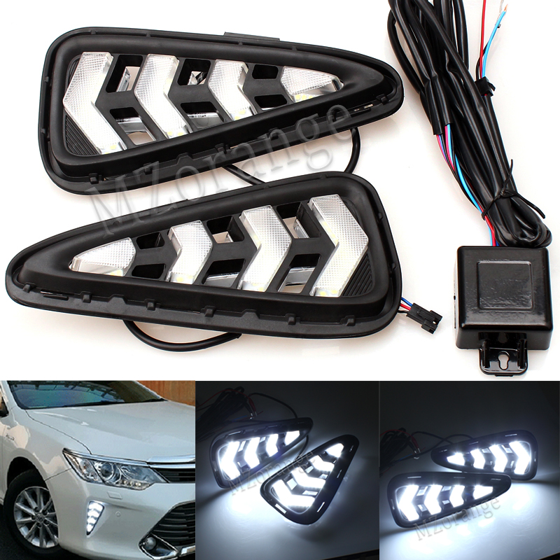 MZORANGE For Toyota Camry 2015 2016 High Quality Daytime Running Light Fog Light LED DRL Case Fog Lamp 12V 6000K Car Styling
