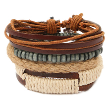 Fashion Braided Adjustable Leather Bracelet Punk Jewelry Cuff , Mixed