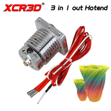 Free Shipping XCR3D 3D Printer Parts 3 in 1 out Hotend Colour Mixture 12/24V Heater 0.4/1.75mm for PLA/ABS Multi Color Extruder