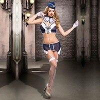 7pcs/Set Sexy Women Sailor Costume Lingerie Set Blue Stewardess Cosplay Uniforms Servant Waitress Costume Temptation Airline Set