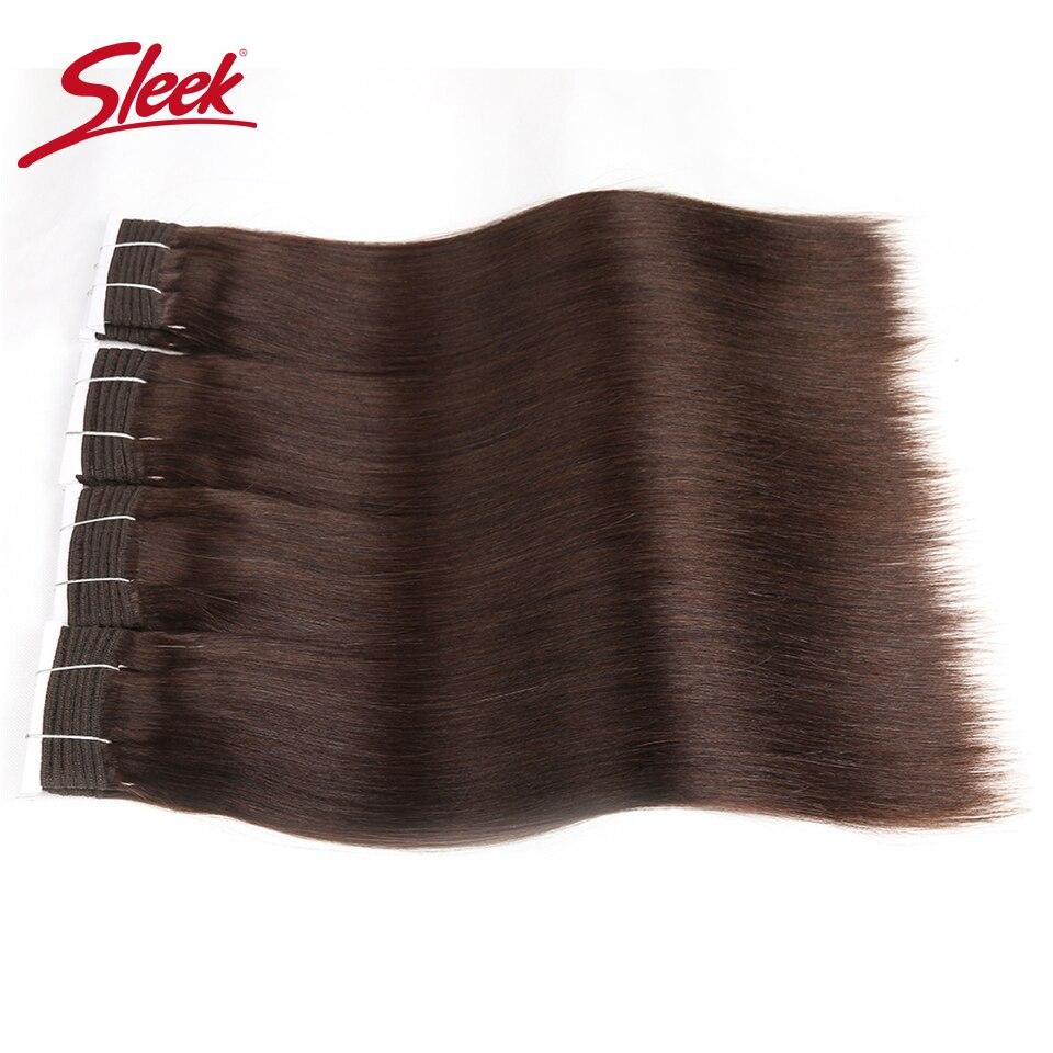 Sleek Hair Double Drawn Brazilian Remy Human Hair Bundles Yaki Straight Hair Weave #2/#6/#33Natural Color Human Hair Bundles
