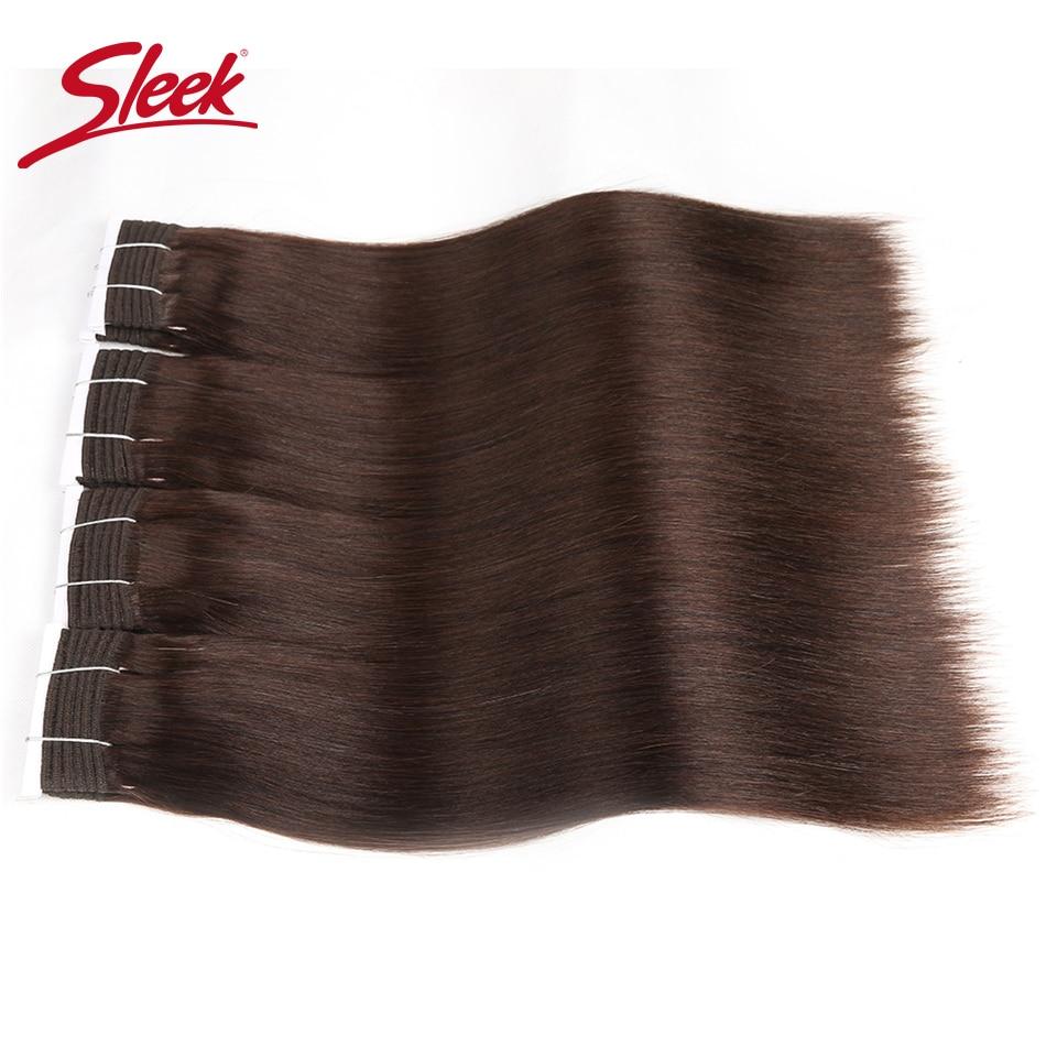 Sleek Hair Double Drawn Brazilian Remy Human Hair Bundles Yaki Straight Hair Weave 2#/6#/Nature Black Colors Bundles