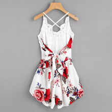 Women's Crochet Lace Panel Bow Tie Back Florals Ladies Summer Shorts Jumpsuit