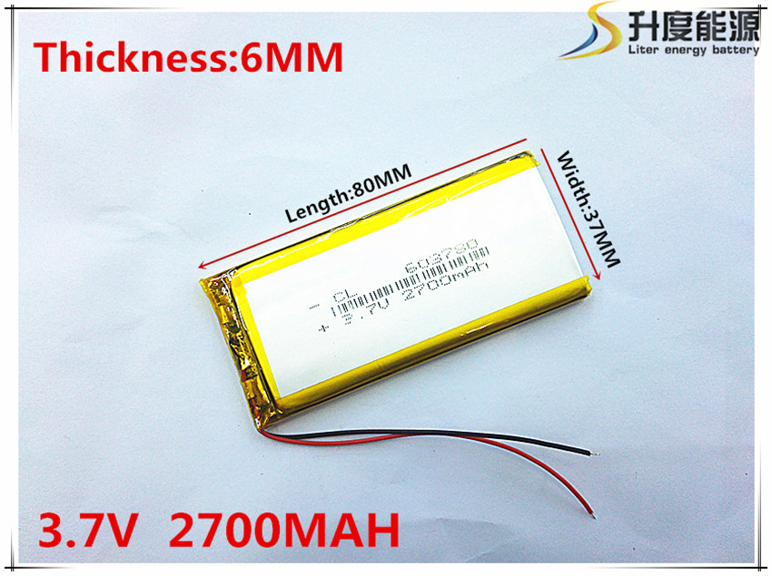 Newest 603780 Lithium Polymer Battery 3.7V 2700mAh Li ion Rechargeable Accumulator For Mobile Power Bank DIY E-book