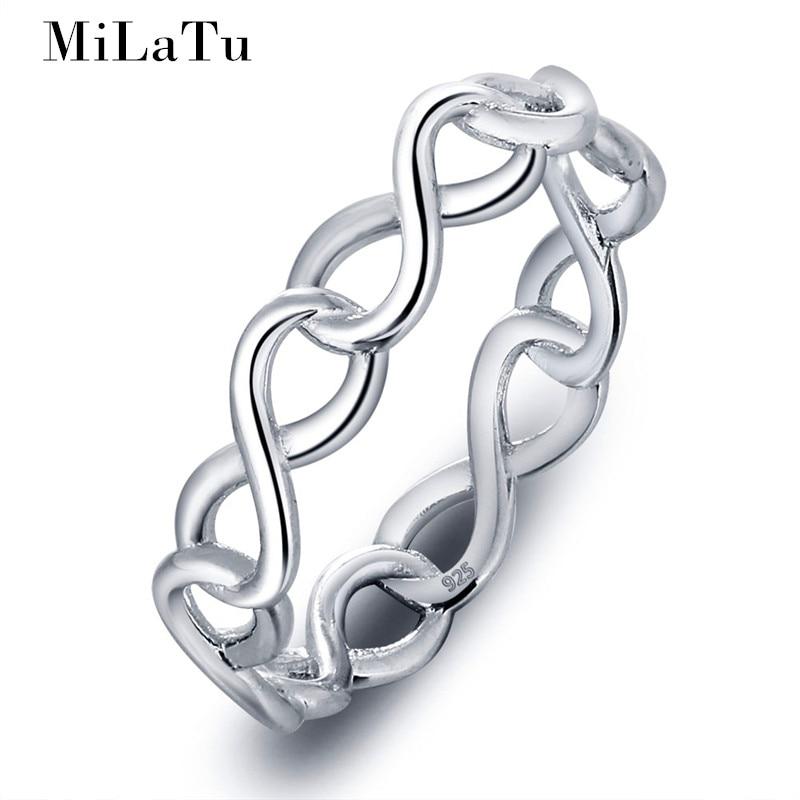 MiLaTu Fashion Hollow Infinity Love font b Ring b font Real 925 Sterling Silver font b