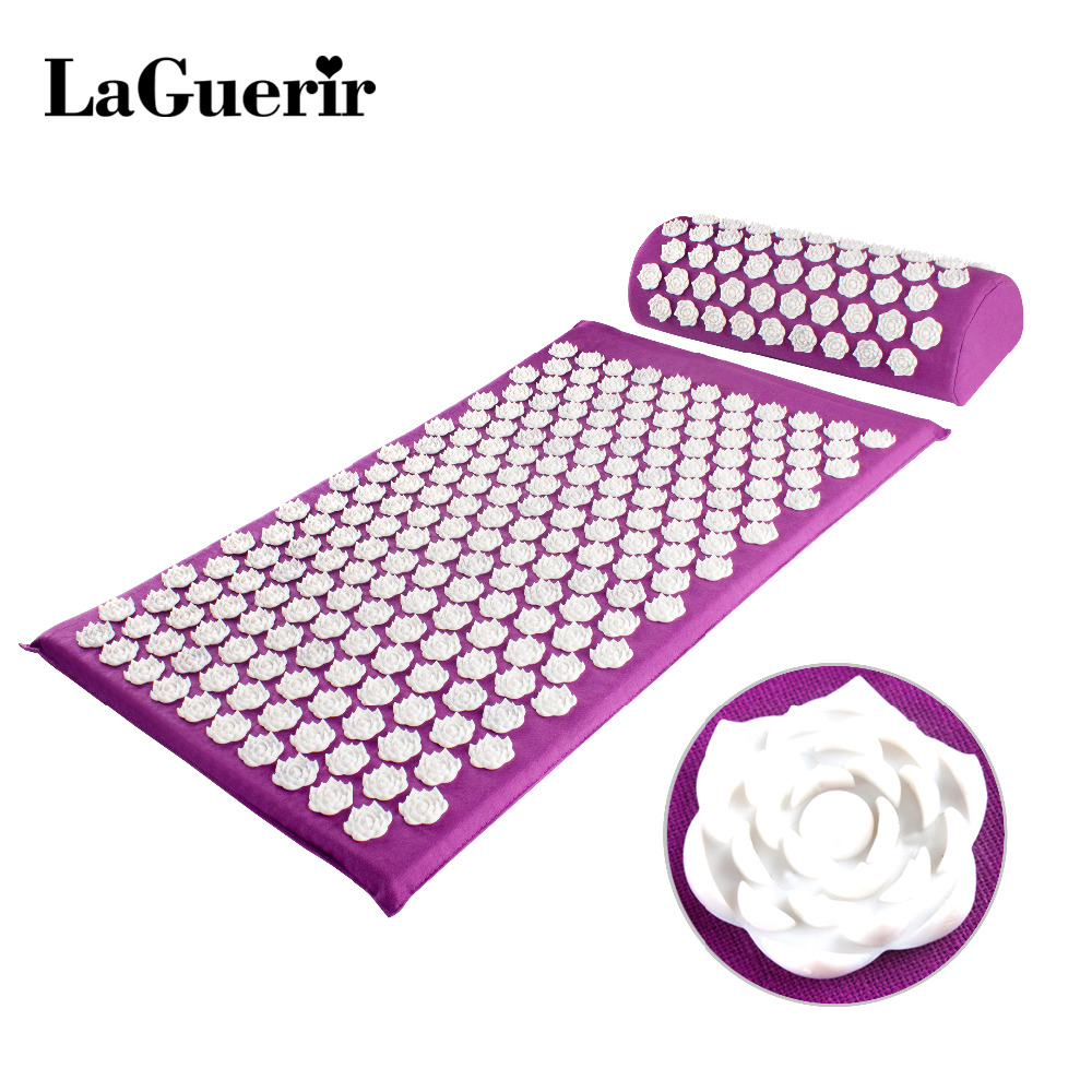 Massager Cushion Acupuncture Sets Relieve Stress Back Pain Acupressure Mat/Pillow Massage Mat Rose Spike Massage and Relaxation(China)