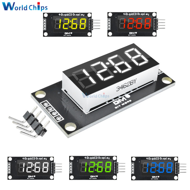 "Red//Green//Blue//Yellow//White 0.36/"" 4-Digit LED Tube Display Clock TM1637 Module"