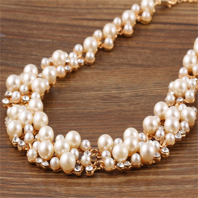 7d2afca9d Julie Wang Women Simulated Pearl Bridal Wedding Jewelry Sets Alloy+Crystal  Choker Necklace Earrings Sets