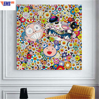 DIY Takashi MURAKAMI MR.DOB Sun Flower Frameless Decorative Picture Creative Living Room Background Wall Art Hangings X1698