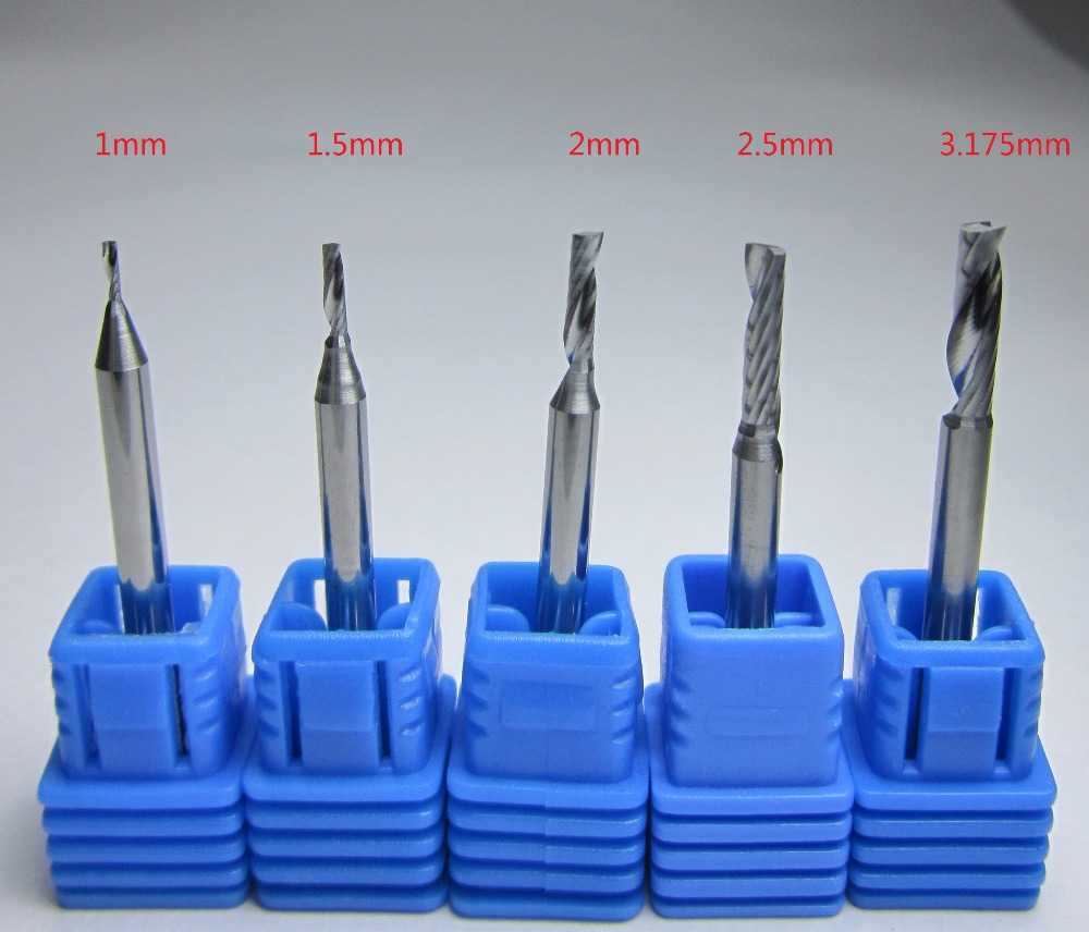 Wholesale Diameter 1mm 1.5mm 2mm 2.5mm 3.175mm Tungsten Carbide Single 1 Flute End Mill Milling Cutter CNC Bits  For Acrylic