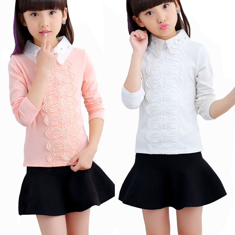 3-12Yrs School Girl Blouse Shirts For Kids Blouse Children Clothing For Teenagers White Pink Korean Lace Shirt With Flowers contrast lace wrap blouse
