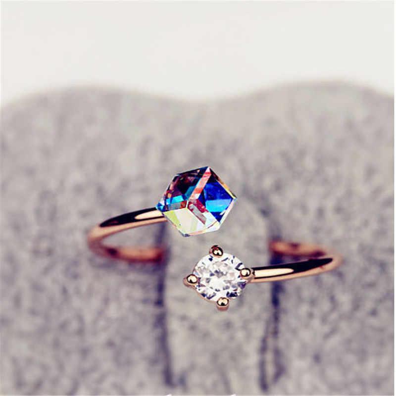 2019 เปิดแหวนหญิง Super Shiny Zircon แหวนแหวนหมั้นสำหรับผู้หญิงง่าย Rose Gold แหวนผู้หญิง
