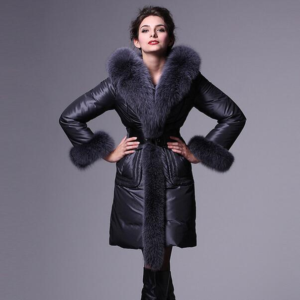 Nova jaqueta de inverno para baixo mulheres 2017 moda de luxo grande gola de pele longo para baixo outwear casaco feminino plus size T833