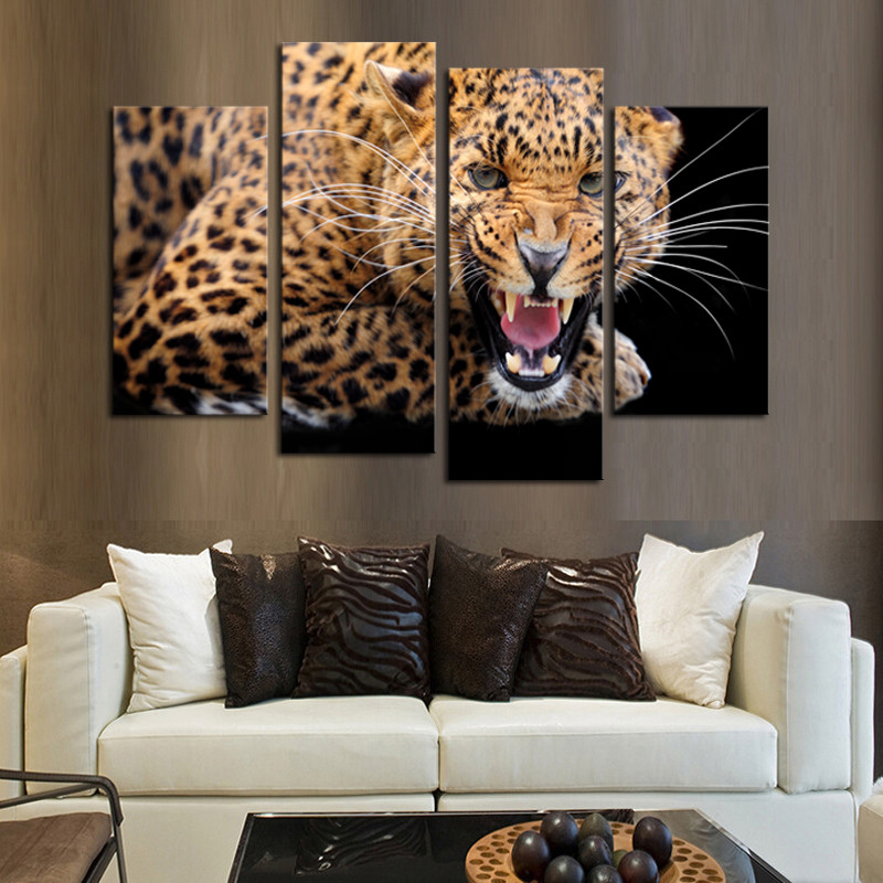 Hot 4pcs Unframed Modern Animal Wall Painting Home Decor Yellow Spots Leopard Living Room Canvas Picture
