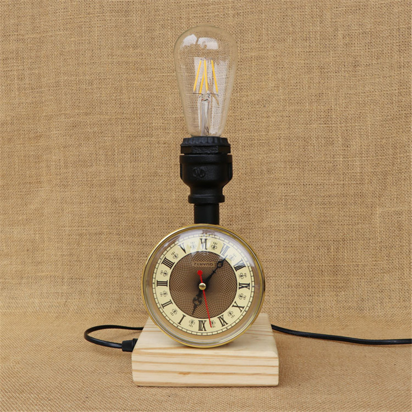 Industrial American Style Vintage Water Pipe Table Light Lamps wood Base E27 Holder for Bedroom study, Bar,Cafe Lighting