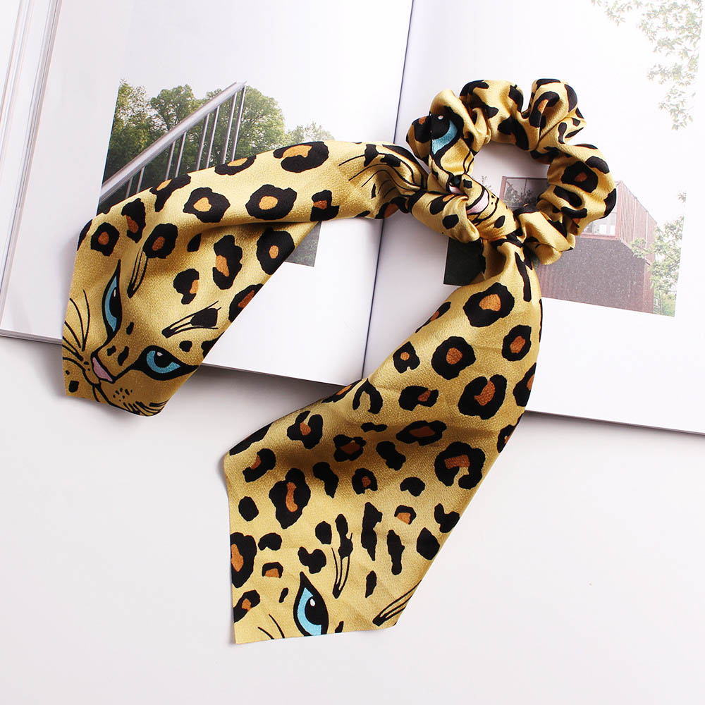 Women Long Ribbon Hair Rope Print Elastic Hair Band Leopard Bandana Hair Scarf   Headwear   Ponytail Holder Girls Hair Accessories
