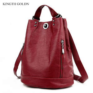 Female Backpacks Schoolbag Shoulder-Bags Travel Soft High-Quality Pu KINGTH GOLDN Women