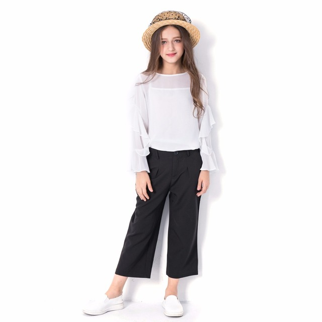 91b66164e44 Children Clothing Set for Teenage Girls Suit 2019 Summer Chiffon Tops +  Three Quarter Pants Suit 2pcs for Teen 6 8 10 12 14 Year