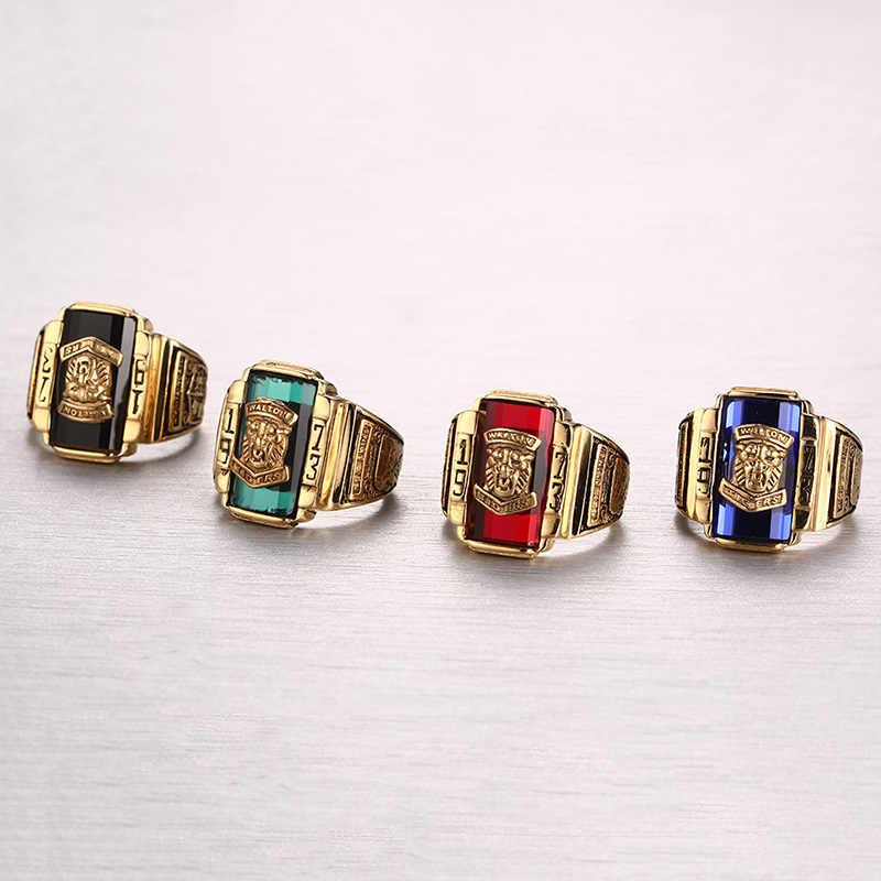 Vnox Винтаж мужской кольцо для Для мужчин Jewelry 1973 WALTON Тигр школы Нержавеющая сталь из металла
