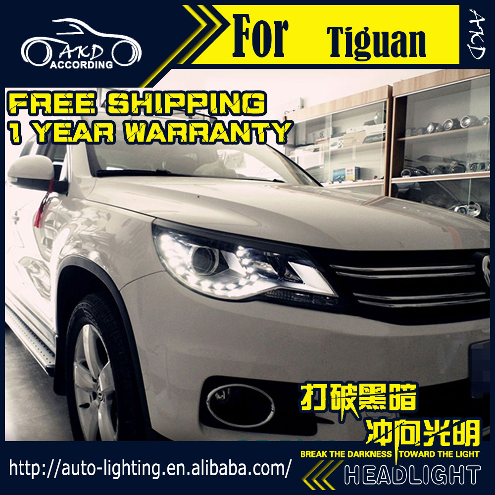 AKD Car Styling Headlight Assembly for VW Tiguan Headlights 2007-2010 Bi Xenon Headlight LED DRL HID Front Lamp Accessories car rear trunk security shield cargo cover for volkswagen vw tiguan 2016 2017 2018 high qualit black beige auto accessories
