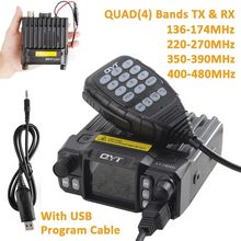 Qyt KT-7900D 4 bandas vechile estação de rádio em dois sentidos com cabo de programação usb atualização qyt KT-8900 transceptor rádio do carro