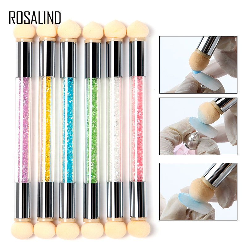 ROSALIND Nail Art Manicure Acrylic Brush Tool Set Material Double Head Glitter Powder Gel Nail Design Polish Gradient Brush