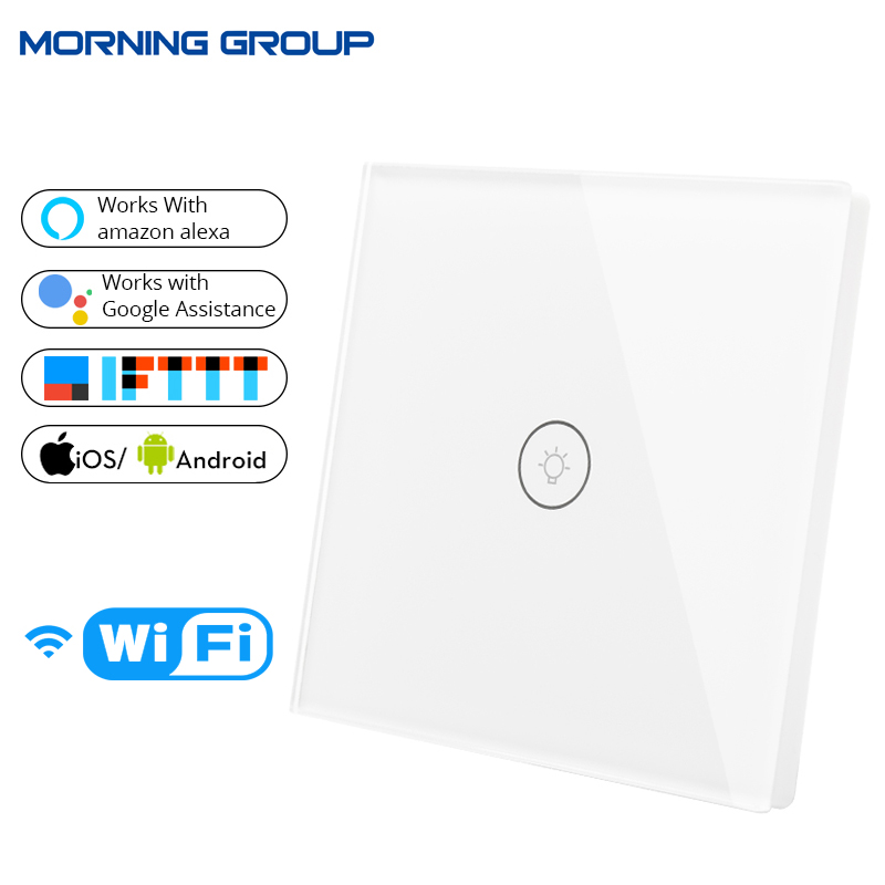 US EU UK Wifi Smart Wall Touch Switch Socket Plug Mobile APP Remote Control No Hub Required Work with Amazon Alexa Google Home
