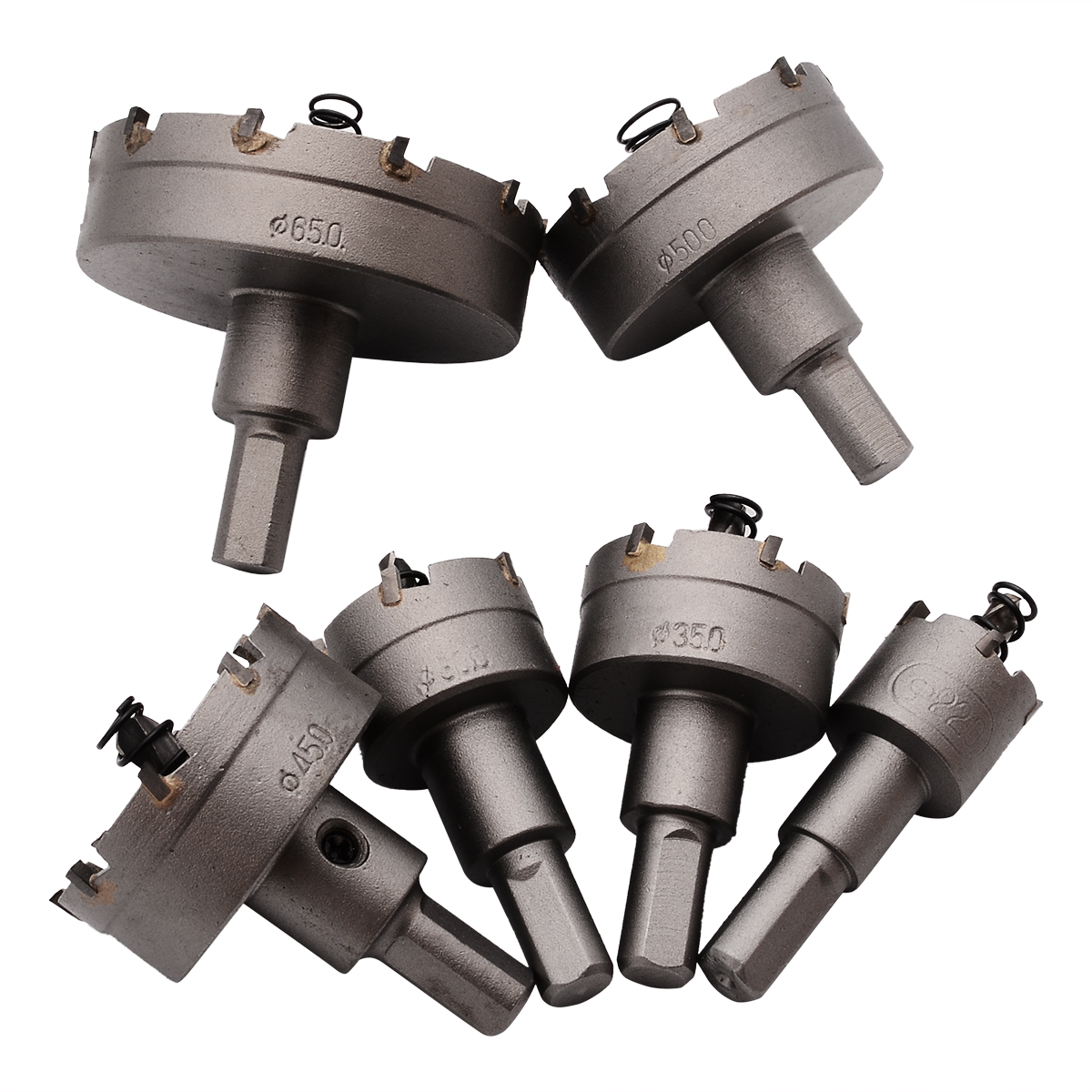 6Pcs Carbide Tip Stainless Steel TCT Drill Bit Set Hole Saw Cutter Alloy Tool For Thick Steel Plates Cast Iron Stainless Steel 6pcs carbide tip tct drill bit set stainless steel hole saw cutter for metal alloy drilling tool 22 65mm