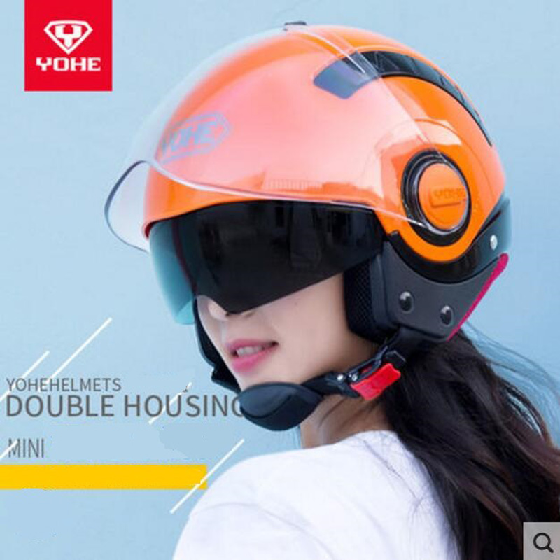 2018 Winter New Knight protection YOHE Half Face Motorcycle Helmet MINI Double lens Motorbike Helmets of ABS and PC lens Visor 2017 new yohe full face motorcycle helmet motorbike racing helmets made of abs and pc lens visor model yh 991 size m l xl xxl