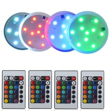 10LEDs RGB Submersible LED Light Multicolor Waterproof IR Remote Controller Lights for Lighting Up Vases Wedding Centerpiece