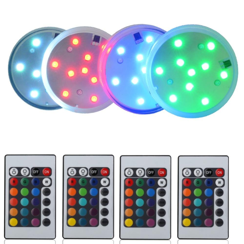 10LEDs RGB Dan Golau LED LED Light Multicolor Rheolwr Anghysbell ar gyfer Goleuadau Goleuadau Canolbwynt Priodas