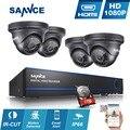 SANNCE 4CH Full HD 1080 P ВИДЕОНАБЛЮДЕНИЯ DVR Рекордер 4 шт. 2-МЕГАПИКСЕЛЬНОЙ Камеры Безопасности комплект Видеонаблюдения P2P Водонепроницаемый помещении на открытом воздухе 1 ТБ HDD