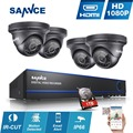 SANNCE 4CH Full HD 1080 P DEL CCTV DVR 4 unids kit de Vigilancia de Cámaras de Seguridad P2P 2MP Impermeable al aire libre de interior 1 TB HDD