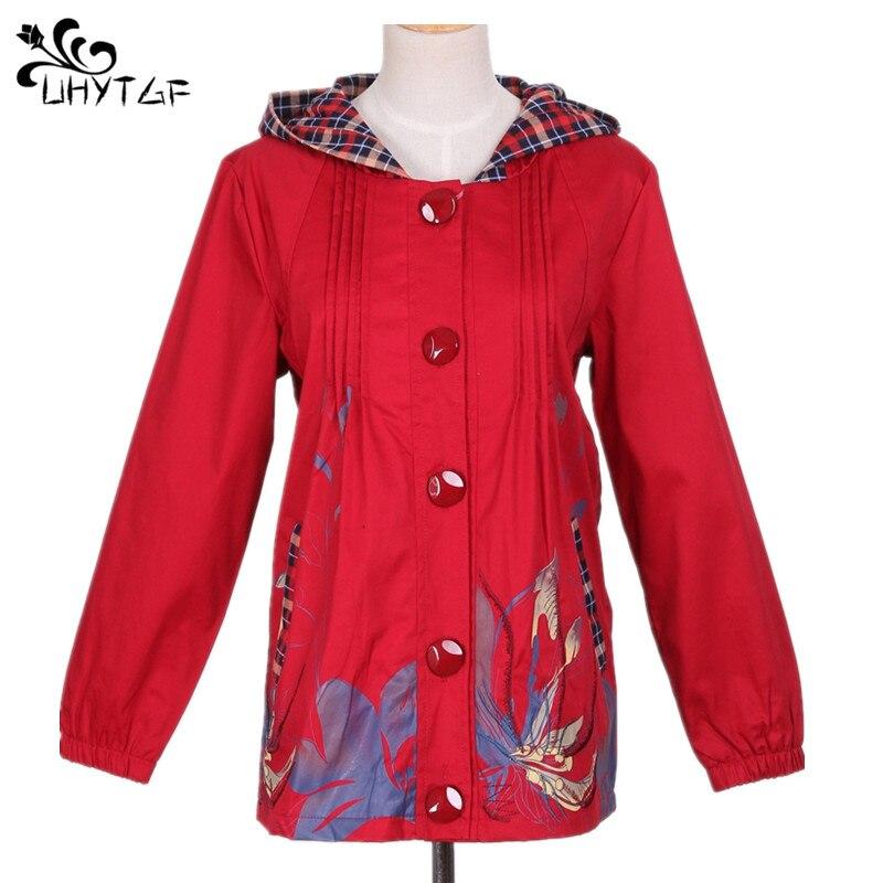 UHYTGF Mother Hooded   Jackets   Spring autumn Women   Basic     Jackets   Coat Bomber Famale Plus size   Jackets   Women's windbreaker tops 197