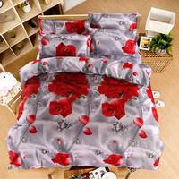 4ピースローズ寝具セットロマンチックな布団カバー花ベッドリネン