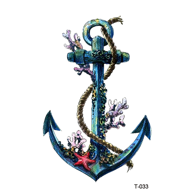 Wyuen New Design Rusty Anchor Coral Waterproof Temporary Tattoo Stickers for Adults Kids Body