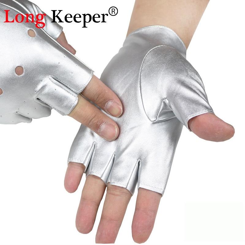 Long Keeper Fashion Herrenhandschuhe Fingerlose Lederhandschuhe für Tanzparty Show Sport Fitness Schwarz Silber Sommer Luvas M131