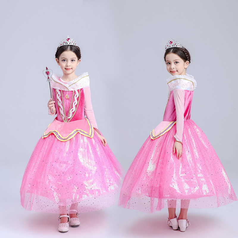 Spring Autumn Long Sleeve Princess Aurora Dress Girl Pink Sequin Cartoon Cosplay Dresses For Girls Birthday Party 4-10 Years sleeping beauty princess costume spring autumn girl dress 2017 pink princess aurora dresses for girls party costume free ship