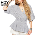 Haoduoyi 2017 mulheres nova moda casual fino sexy profunda v pescoço batwing manga listrada tops tie cintura t-shirt