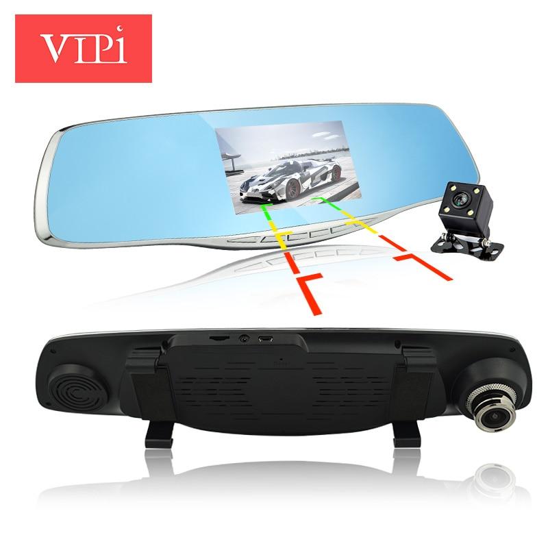 imágenes para 2017 Nueva lente dual cámara espejo retrovisor del coche dvr coches dvr grabador de vídeo registrator full hd1080p visión nocturna dash cam